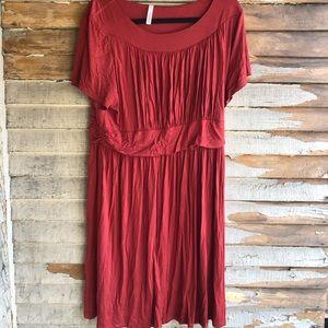 Knee length rust colored dress